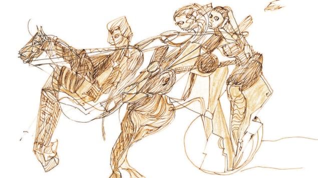 Un dessin de Miles Davis présenté au Centre d'art Diane-Dufresne repésente trois personnes et un cheval.